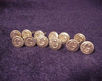 Lot of 12 Monogram Initial Letter G Gold Tone Uniform Buttons, Cufflink Making, Materials, Vintage Sewing, Old