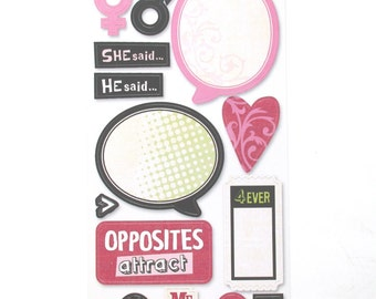 Sandylion Kelly Panacci His & Hers Cardstock stickers - 1 Sheet - 26 Stickers
