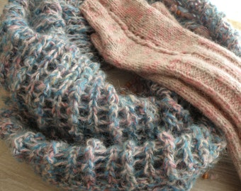 Triangular shawl and mitts.