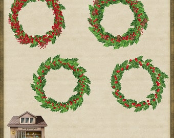 4 Holly and Berry Christmas Wreaths PNG *Instant Download*