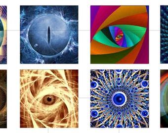 "Fractal Eye, Digital Collage Sheet, Square, Tiles, Resin Pendant, Digital Download, Bottle Cap, 1.5"", 1 inch, 20mm, dcs021"