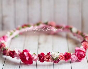 Flower crown, Pink  floral crown, flower halo, Woodland, Hair Accessories,Spring, Boho,bridal headpiece, bridal crown