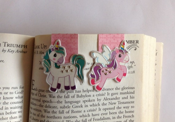 Unicorn magnetic bookmarks, planner accessories, gift idea