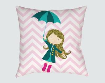 Nursery Pillow , Kids Room Decor , Girls Room , Throw Pillow ,  Girl with umbrella Pillow , Decorative children's pillow ,  kids Pillow