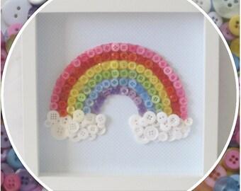 Handmade Rainbow Button Frame