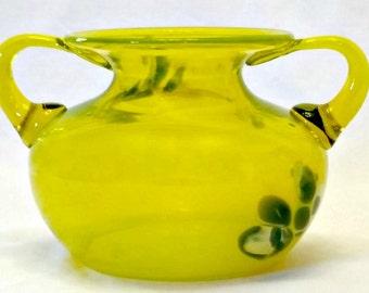 "Gorgeous ""Blenko"" Glass Vase Urn Hand Blown Large Neon"