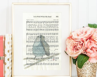 It is Well With My Soul - Hymn - Watercolor painting - Print & Cards - Birds
