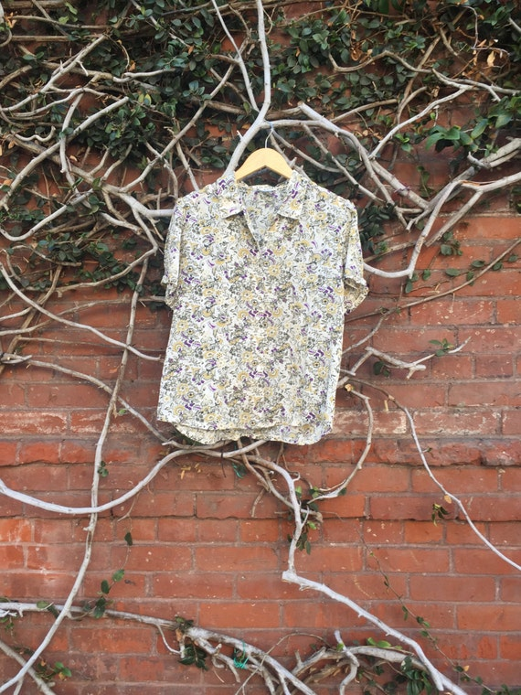 Vintage Floral Button Up Short Sleeve Blouse