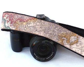 World Map Camera Strap, Camera Neck Strap, Canon camera strap, Nikon camera strap, For Him, For Her. Personalized Gifts For Photographer
