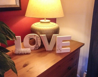 Decoupage painted decorative wooden letters / words