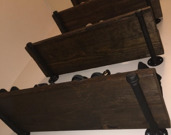 """Industrial Rustic Distressed Wood Shelf - 24"""" x 12"""" x 2"""" - FREE SHIPPING - Made to Order - 36"""" and 48"""" widths also available!"""