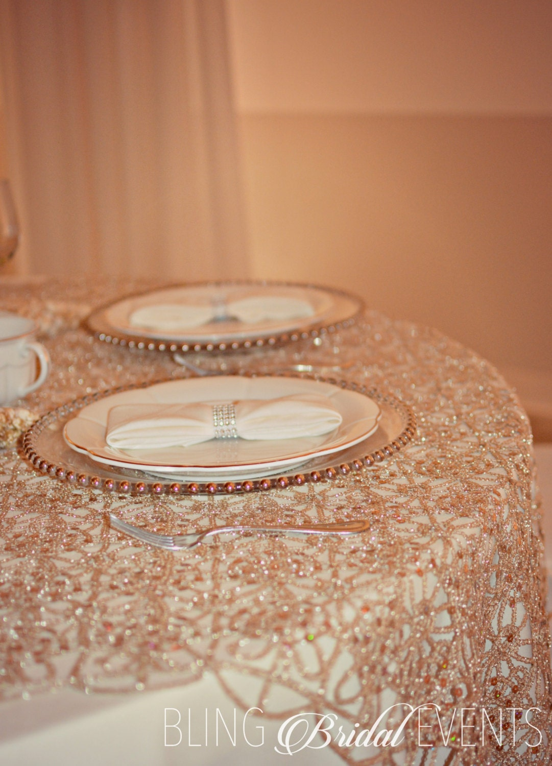 Champagne Table Overlay Sequins Amp Lace