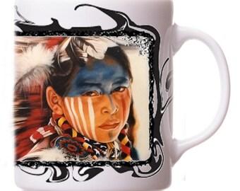 "Native American ""Shanto Zapap"" Warrior Indian Dancer Limited Edition Custom Tea Coffee Mug Cup"