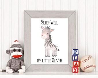 Sleep Well little Oliver printable | customizable name zebra nursery printable | baby name printable | Boys name Printable | 005