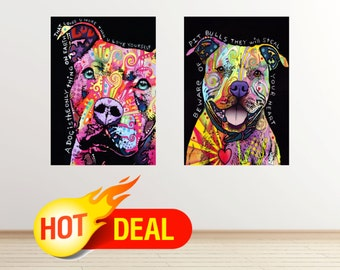 SALE! Pit Bull dog wall decal PitBull dog wall sticker dogs poster colorful abstract pop art dog wall art poster modern by dean russo set080