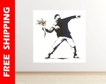 Throwing Flowers Banksy wall decal graffiti art flowers wall decal banksy print graffiti street art Banksy wall art gift by Banksy 63 square