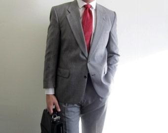 Burberry Suit /Mens Suit / Vintage Burberry Suit / Glen Plaid Suit / Grey Plaid Suit / Vintage Mens Suits