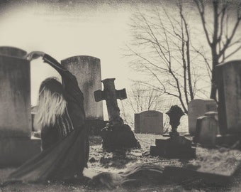 Ghostly Twins Playing in a Graveyard, Sepia Tone, Fine Art Print, FREE SHIPPING