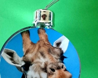 Giraffe - Large Clear Acrylic Hanging Christmas Bauble/ Christmas Tree Decoration Ornament