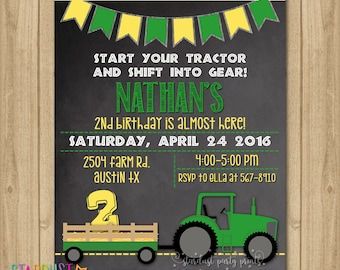 Tractor Birthday Invitation, Farmer Invitation, Farm Invitation, Farm Birthday Invitation, Green Tractor Invitation