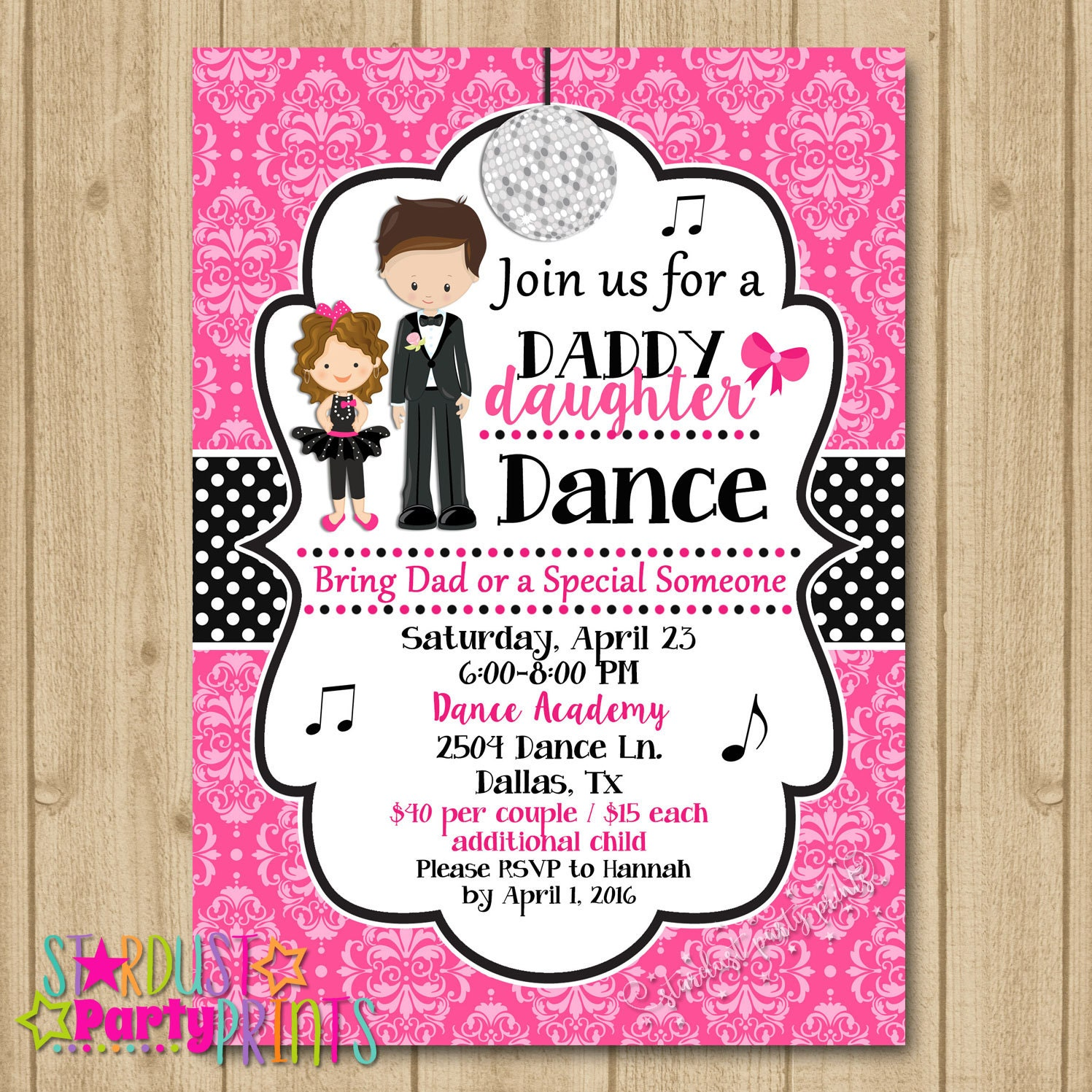 Father Daughter Dance Invitation Party
