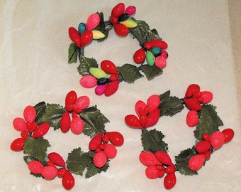 3 Very Nice Vintage Christmas Candle Rings Holly and Berry and Leaf and Fruit Styles