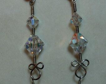 Handmade silver earrings with swarovski crystals