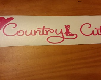 Vinyl Decal Country Cutie with hat and boot
