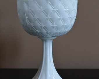 SALE -Vintage milk glass tall compote, milk glass sectioned tall bowl