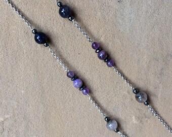 Amethyst, Charoite and Iolite Eye Glass Chain