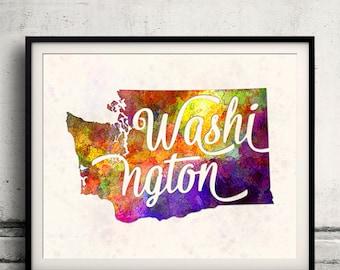 Washington - Map in watercolor - Fine Art Print Glicee Poster Decor Home Gift Illustration Wall Art USA Colorful - SKU 1738