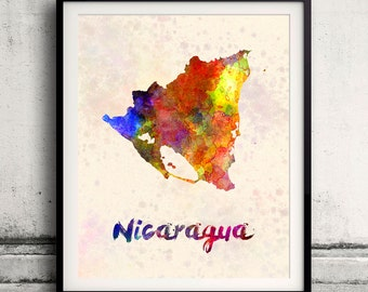 Nicaragua - Map in watercolor - Fine Art Print Glicee Poster Decor Home Gift Illustration Wall Art Countries Colorful - SKU 1794