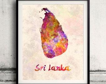 Sri Lanka - Map in watercolor - Fine Art Print Glicee Poster Decor Home Gift Illustration Wall Art Countries Colorful - SKU 1831