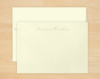 Polished Embossed Correspondence Cards - Personalized Stationery