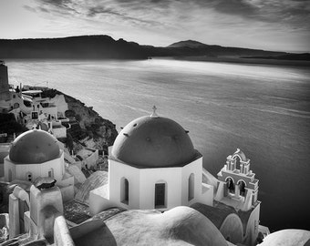 Church Domes, Sunrise, Santorini, Greece – Fine Art Photograph, Santorini Art, Oia Photo, Greek Islands, Wall Art, Travel Landscape