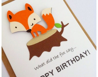 Birthday Card - Fox, Woodland theme