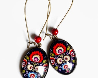 Earrings * Slavic folklore * Russian embroidery Polish blue flowers red, cut glass