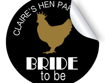 Set of 12+ Hen Silhouette Personalised Hen Party Stickers - 50/60/70mm
