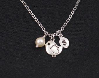 bird necklace, initial necklace, Swarovski pearl choice, silver bird charm, little bird charm pendant, baby bird necklace, new mom gift idea