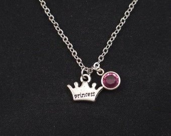 tiny princess crown necklace, birthstone necklace, silver crown charm, monarchy, queen, princess jewelry, gift for her,little girl jewelry