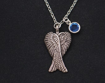 birthstone necklace, angel wing necklace, silver wing necklace, angel wing necklace, double wings charm, personalized gift, bridesmaid gift