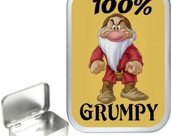 100% Grumpy  1oz silver hinged tobacco tin,pill box,storage tin
