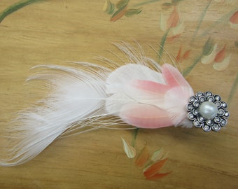 Hair accessories, hair clip, wedding hair clip, bridal wedding accessory, fascinator, bridal fascinator, Feather Hair Clip, Vintage Chanel