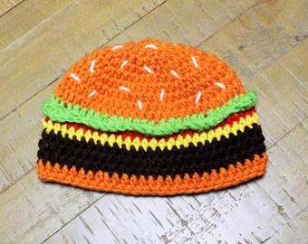 Hamburger Hat - Handmade to Order - Newborn to Adult
