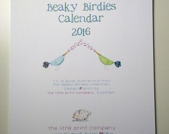 Wall calendar/planner 2016/2017, Beaky Birdies illustrations