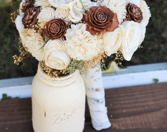 Wedding Bouquet, bridal, Winter Wedding Bouquet, Fall Wedding Bouquet, Spring Bouquet, Sola Bouquet, Rustic Wedding, Alternative Bouquet