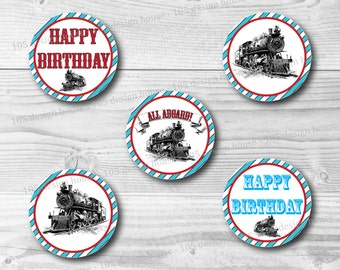 """INSTANT DOWNLOAD Train Cupcake Toppers - Printable 2"""" Cupcake Toppers - Train Party Printables - Train Birthday - Train Cupcake Toppers"""