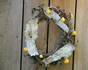 Birch bark wreath, fall wreath, woodland door decor, birch bark and lichen.