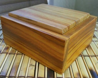 Handmade Keepsake Box with Rocking Lid (Canary Wood)