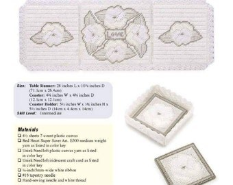 Beautiful Table Runner and Coaster Set Pattern in Plastic Canvas